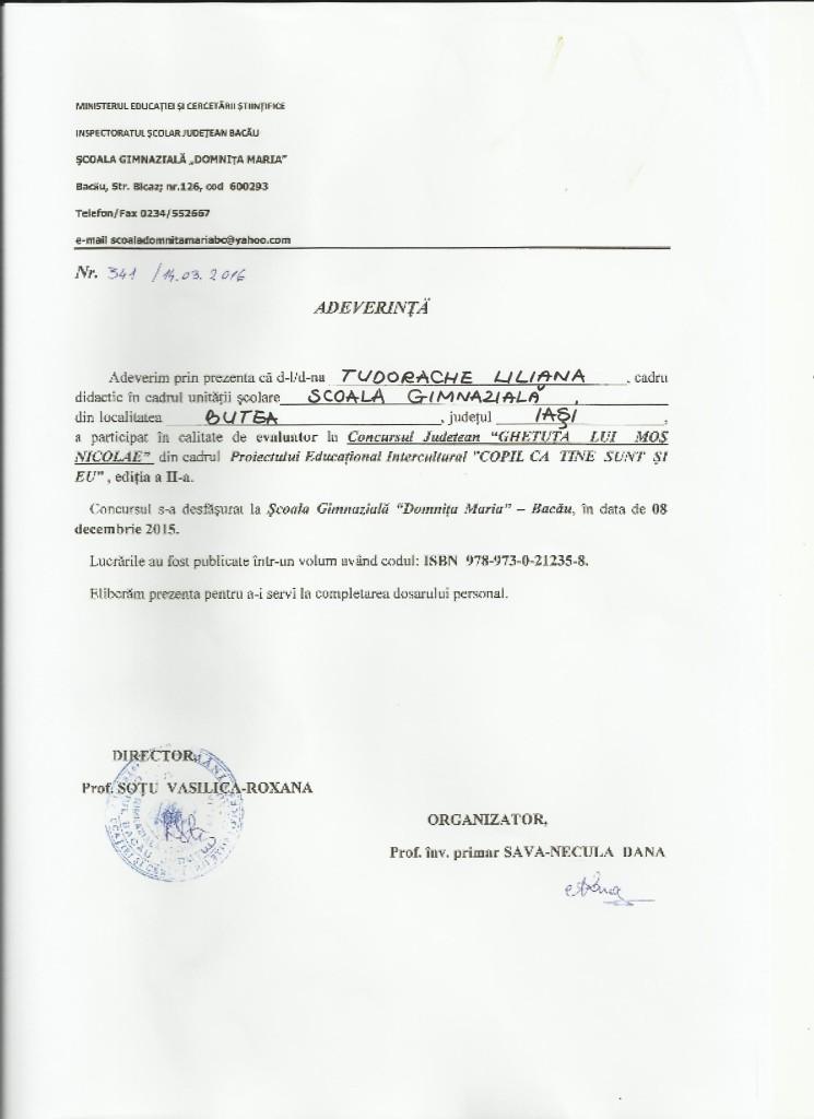 Adeverinta evaluator TL - Ghetuta lui Mos Nicolae