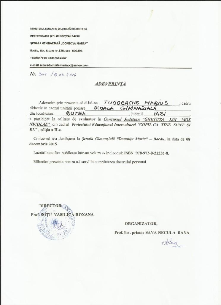Adeverinta evaluator TM - Ghetuta lui Mos Nicolae