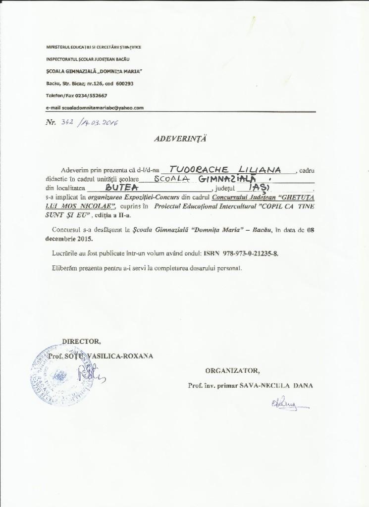 Adeverinta organizare TL- Ghetuta lui Mos Nicolae