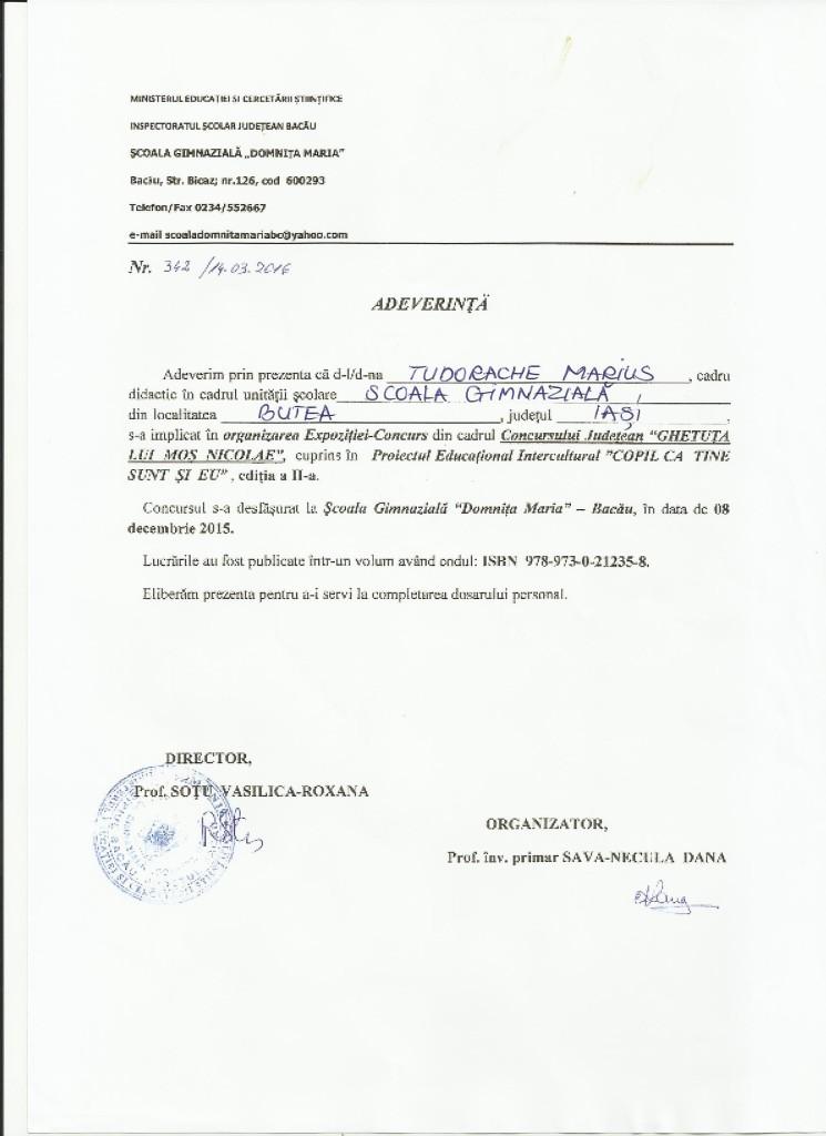 Adeverinta organizare TM - Ghetuta lui Mos Nicolae