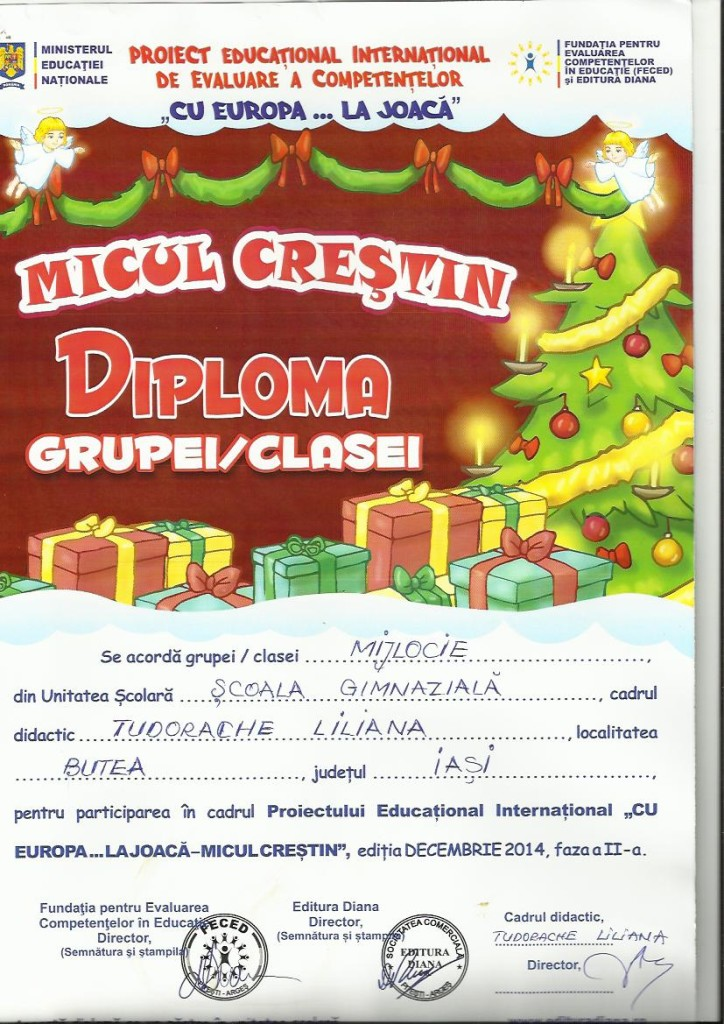 concurs Micul Crestin diploma grupa