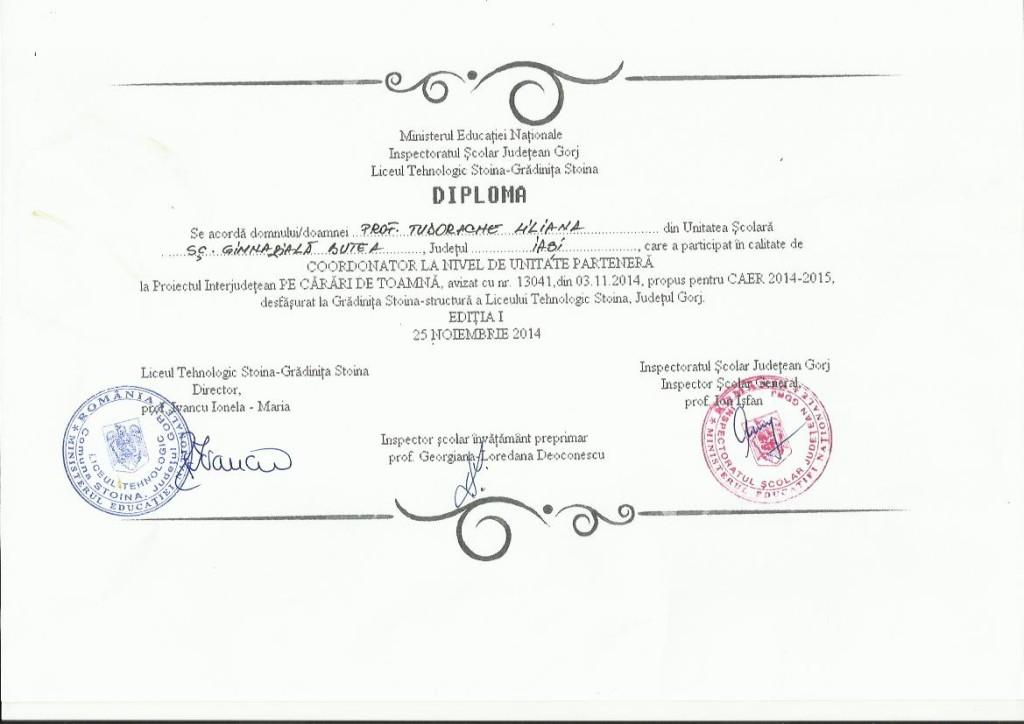 diploma Pe carari de toamna