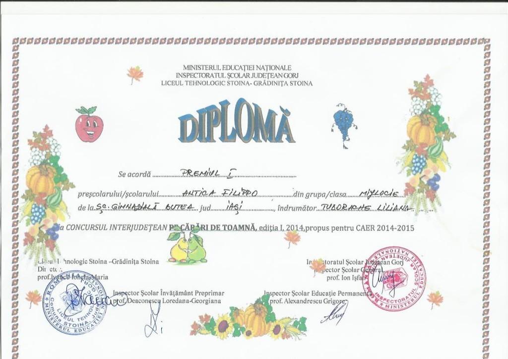 diploma Pe carari de toamna ANTICA FILIPPO